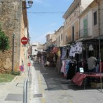 The stalls run all the way around the town's narrow streets