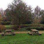 de tuin met zitbanken