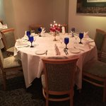 New round table suitable for 7-10 guests dependant on the day and space available for comfort