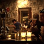 Enjoying a craft beer at the bar