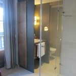 Stylish glass shower between bed and bathroom