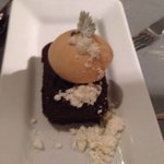 Chocolate cake with salted caramel gelato and candied cilantro- delicious!