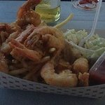 Fried shrimp basket with fries and slaw