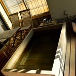 Private Onsen on the terrace.