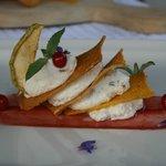 millefoglie di polenta con crema di ricotta e kodinzon
