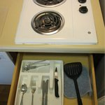2-burner stove and very few utensils