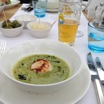 Green cabbage cream with scallops