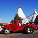 Chevy tow truck parked in front of our WigWam