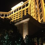 Front of the Beau Rivage at night. Starting to decorate for the holidays!