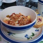 The first course for breakfast--fresh fruit, yogurt, granola, and Robin's muffins--Heaven!