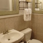 Very clean, well-lit and efficient bathroom