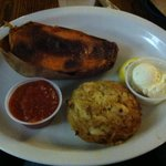 The sweet potato was delicious and the crab cake was meaty with very little filler