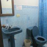 Hot water but simple bathroom