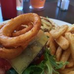 Hawaiian Burger! Yes! It has onion rings on the burger! And pineapple of course!