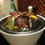 rotisserie duck with grilled vegetables served over warm coals
