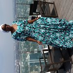 Moi in a pretty dress (even if i say so myself lol) on the 49th floor