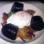 French black pudding, poached egg and crackling.