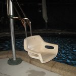 The Hydraulic lifter to help guests with mobility issues get into or out of our pool