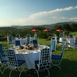 Tables set for barbecue dinner