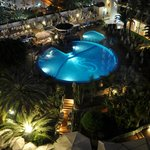 View from our room at night of the pool and terrace