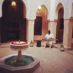 musician playing in the courtyard