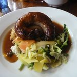 Cumberland sausage, mash and vegetables