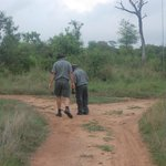 Rob and Titus looking for footprints /  tracking