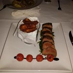 Flat iron steak, with roasted cherry tomatoes, spinach, chips. One the best steaks I have ever h