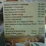 This is the sign out front which lists the massages.