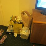 the pile up of rubbish because our room wasnt cleaned!