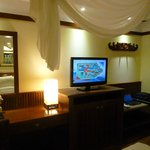 Tv and table area