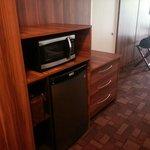 Microwave, fridge, and coffee maker