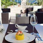 Easy lunch at restaurant terrace