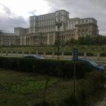 """House of Parliament viewed from """"Izvor"""" (Water Spring) Park"""