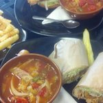 Soup of the day, shrimp po'boy, grouper sandwich, fries.