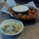 Cheese curds and Cole slaw