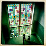 Stain glass window on stairs