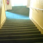 carpeted fire-escape stairs