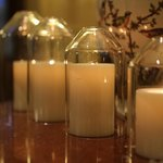 Candles throughout the lobby