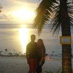 Sun setting over the beach
