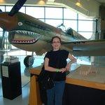 my wife Jane next to P-40