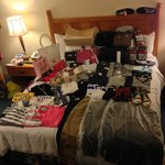 Great day at the factory outlets- bring a wheely bag. (and only photo i have of the bed!)