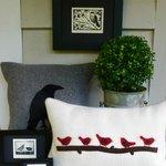 Fibre art, linocut prints, rosemary and boxwood