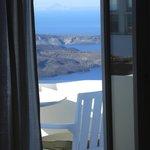 Sicht aus den Zimmer auf den Balkon