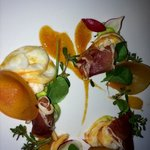 Appetizer- lobster,avocado, radish, tangerine, persimmon, Serrano ham