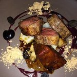 Entree- Lamb, matsutakes, almonds, grapes, sunchokes, mustard