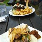 Chicken wrap & steak sandwich
