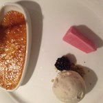 Saffron creme brûlée, pistachio and rose Ice cream YUM