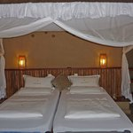 The nice bed with mosquito-net