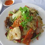 Sea bass chill stir fried vegetables